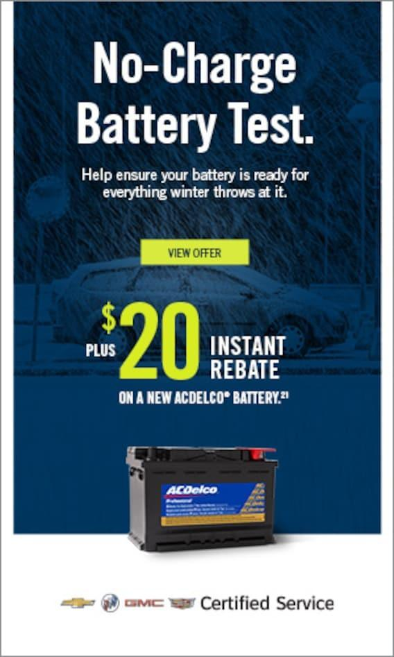 NO-CHARGE Battery Test + $20 Instant Rebate on a new ACDelco battery