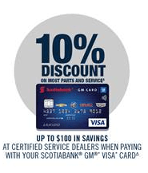 GM VISA CARD UP TO 10% OFF SELECT SERVICE AND PARTS