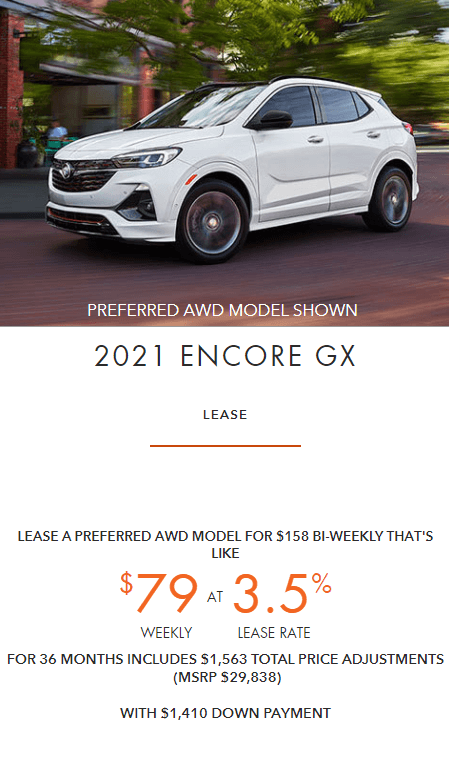 2021 Buick Encore GX Employee Pricing Specials Offers Incentives Jack Carter Northstar GM Cranbrook BC