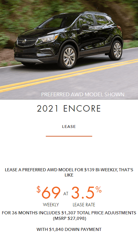 2021 Buick Encore Employee Pricing Specials Offers Incentives Jack Carter Northstar GM Cranbrook BC