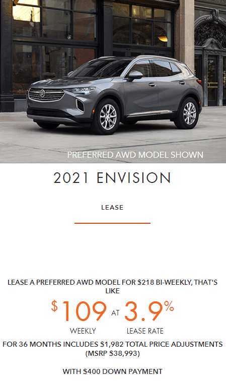2021 Buick Envision Employee Pricing Specials Offers Incentives Jack Carter Northstar GM Cranbrook BC