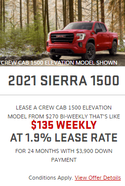 2021 GMC Sierra 1500 Specials Offers Incentives Jack Carter Northstar GM Cranbrook BC
