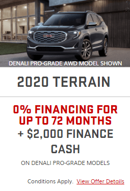 2020 GMC Terrain Specials Offers Incentives Jack Carter Northstar GM Cranbrook BC