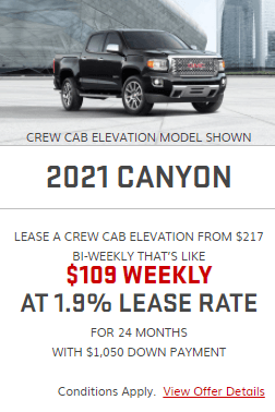 2021 GMC  Canyon Specials Offers Incentives Jack Carter Northstar GM Cranbrook BC