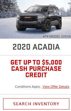 2020 GMC  Acadia Specials Offers Incentives Jack Carter Northstar GM Cranbrook BC