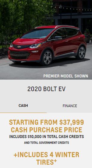 2020 Chevy Bolt EV Chevrolet Special Offers Incentive Jack Carter Northstar GM Cranbrook