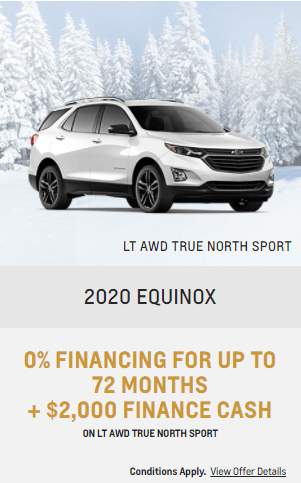 2020 Chevy Equinox Chevrolet Special Offers Incentive  Jack Carter Northstar GM Cranbrook