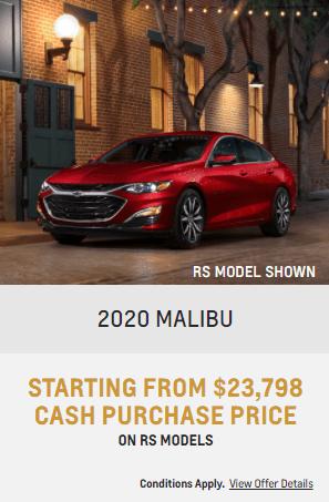 2020 Chevy Malibu Specials Offers Incentives Jack Carter Northstar GM Cranbrook
