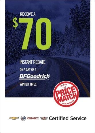 Receive a $70 instant rebate on a set of 4 BF Goodrich tires Jack Carter Northstar GM Cranbrook BC