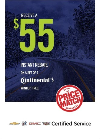 Receive a $55 instant rebate on a set of 4 Continental tires Jack Carter Northstar GM Cranbrook BC