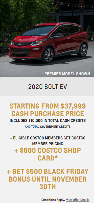 2020 Chevy Bolt EV Chevrolet Special Offers Incentive Black Friday Jack Carter Northstar GM Cranbrook