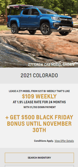 2021 Chevy Colorado Chevrolet Special Offers Incentive Black Friday Jack Carter Northstar GM Cranbrook