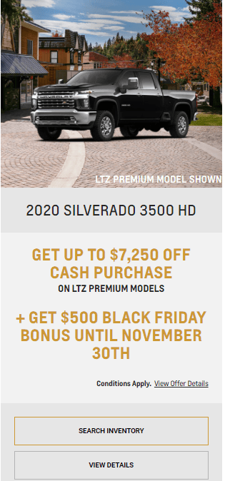 2020 Chevy Siverado 3500 Chevrolet Special Offers Incentive Black Friday Jack Carter Northstar GM Cranbrook
