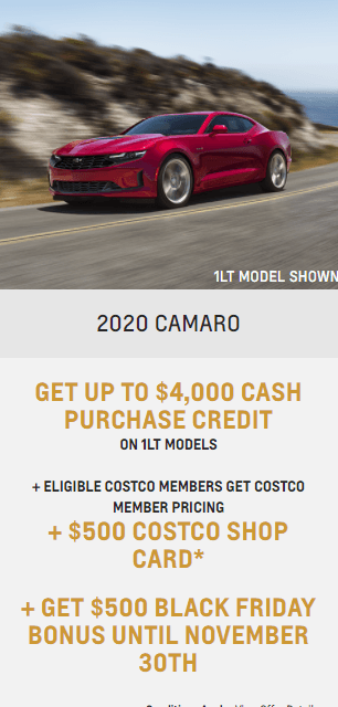 2020 Chevy Camaro Chevrolet Special Offers Incentive Black Friday Jack Carter Northstar GM Cranbrook