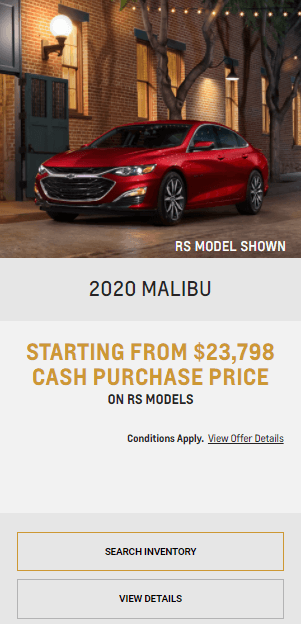 2020 Chevy Malibu Chevrolet Special Offers Incentive Black Friday Jack Carter Northstar GM Cranbrook